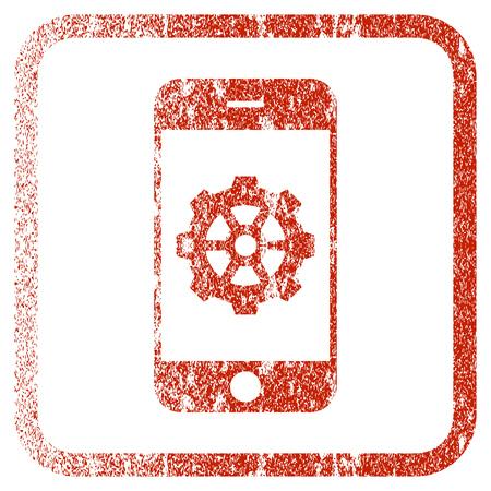 Smartphone Options Gear textured icon for overlay watermark stamps. Red rasterized texture. Flat red raster symbol with scratched design inside rounded square frame. Stock Photo