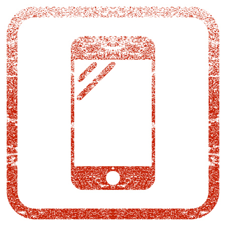 Smartphone Screen textured icon for overlay watermark stamps. Red rasterized texture. Flat red raster symbol with dust design inside rounded square frame. Framed rubber seal stamp imitation.