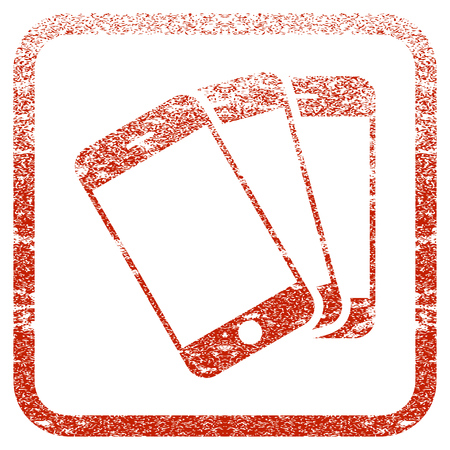 Smartphones textured icon for overlay watermark stamps. Red rasterized texture. Flat red raster symbol with unclean design inside rounded square frame. Framed rubber seal stamp imitation.