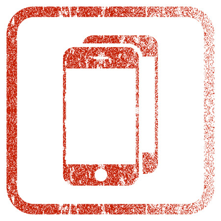 old phone: Smartphones textured icon for overlay watermark stamps. Red rasterized texture. Flat red raster symbol with scratched design inside rounded square frame. Framed rubber seal stamp imitation.