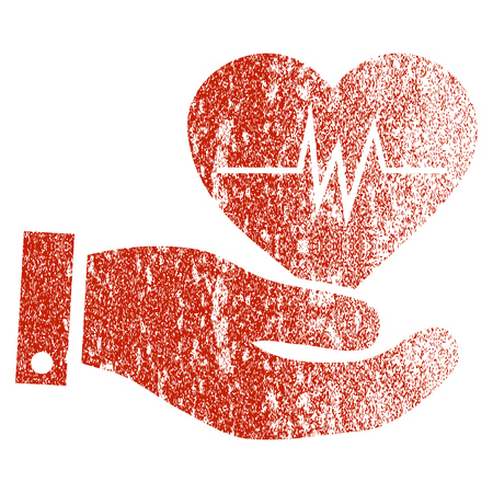 Cardiology grunge textured icon for overlay watermark stamps. Flat symbol with dust texture. Textured vector red rubber seal stamp with grunge design on a white background.
