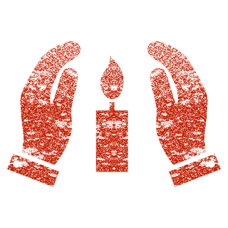 Candle Care Hands grunge textured icon for overlay watermark stamps. Flat symbol with dirty texture. Textured vector red rubber seal stamp with grunge design on a white background.