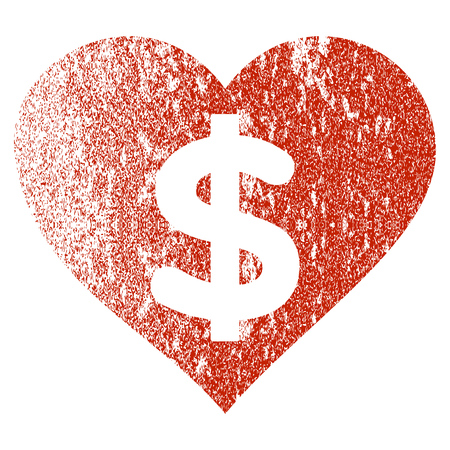 Betaalde liefde grunge getextureerde pictogram voor overlay watermerk stempels. Vlakke symbool met een krassende textuur. Geweven vector rode rubberzegelzegel met grungeontwerp op een witte achtergrond.