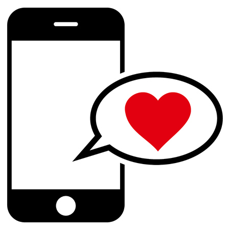 Smartphone Love Message flat icon. Vector bicolor red and black symbol. Pictogram is isolated on a white background. Trendy flat style illustration for web site design, logo, ads, apps,