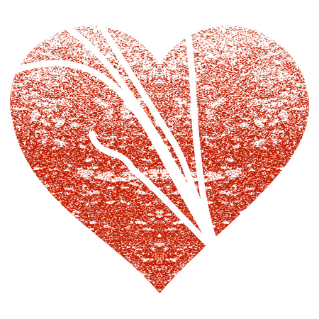 broken love: Damaged Love Heart grunge textured icon for overlay watermark stamps. Flat symbol with unclean texture. Textured raster red rubber seal stamp with grunge design on a white background.