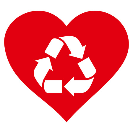 passion  ecology: Love Recycle flat icon. Vector red symbol. Pictogram is isolated on a white background. Trendy flat style illustration for web site design, logo, ads, apps, user interface. Illustration