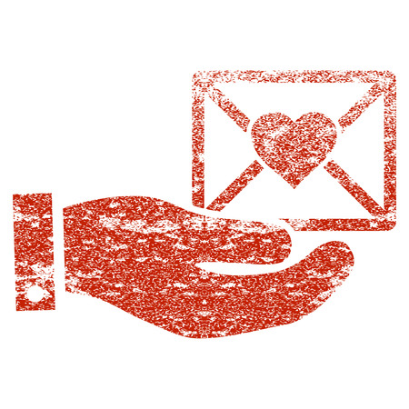 Love Mail Offer Hand grunge textured icon for overlay watermark stamps. Flat symbol with scratched texture. Textured raster red rubber seal stamp with grunge design on a white background. Stock Photo