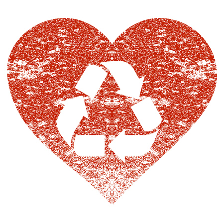 Love Recycle grunge textured icon for overlay watermark stamps. Flat symbol with dirty texture. Textured raster red rubber seal stamp with grunge design on a white background.
