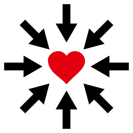 Impact Love Heart flat icon. Vector bicolor red and black symbol. Pictogram is isolated on a white background. Illustration