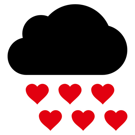 Love Rain Cloud flat icon. Vector bicolor red and black symbol. Pictograph is isolated on a white background.