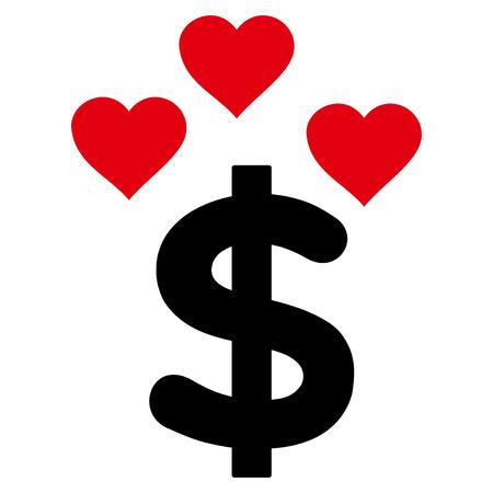 Mooie dollar platte pictogram. Vector tweekleurig rood en zwart symbool. Pictogram is geïsoleerd op een witte achtergrond.