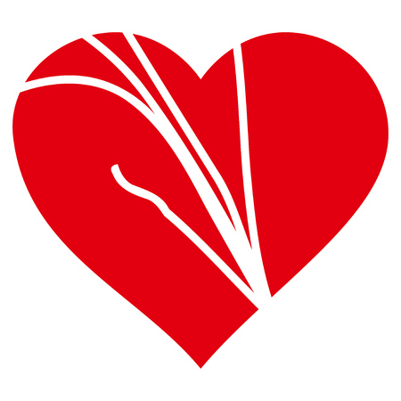 Damaged Love Heart flat icon. Vector red symbol. Pictogram is isolated on a white background.
