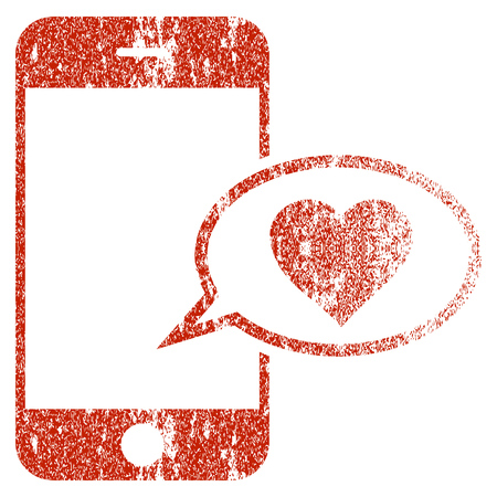 Smartphone Love Message grunge textured icon for overlay watermark stamps. Flat symbol with dirty texture. Textured raster red rubber seal stamp with grunge design on a white background.