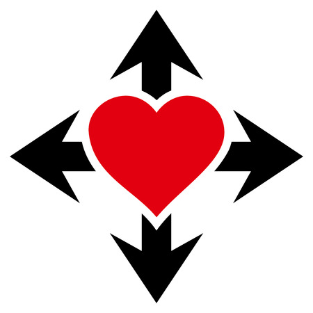 Expand Love Heart flat icon. Raster bicolor red and black symbol. Pictogram is isolated on a white background.