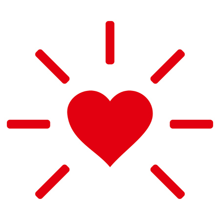 Shine Heart flat icon. Raster red symbol. Pictograph is isolated on a white background.