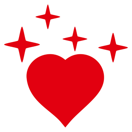 Sparkle Love Heart flat icon. Raster red symbol. Pictogram is isolated on a white background.