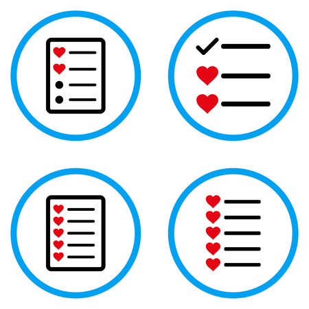 numerate: Favourites List rounded icons. Vector illustration style is a flat iconic symbols inside blue circles. Designed for web and software interfaces.