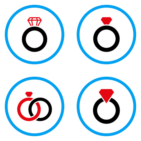 diamond stones: Gem Ring rounded icons. Vector illustration style is a flat iconic symbols inside blue circles. Designed for web and software interfaces.