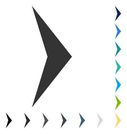 右の矢印アイコン。ベクトル図のスタイルは、いくつかの色のバージョンでフラットに象徴的なシンボルです。