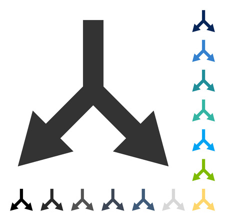Bifurcation Arrow Down icon. Vector illustration style is flat iconic symbol in some color versions.