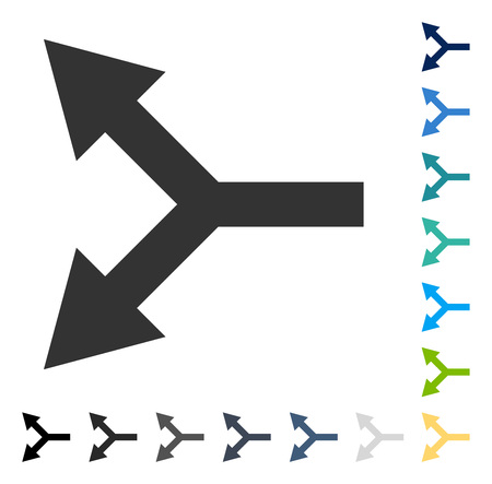 Bifurcation Arrow Left icon. Vector illustration style is flat iconic symbol in some color versions. Illustration