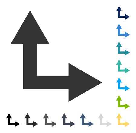 Bifurcation Arrow Right Up icon. Vector illustration style is flat iconic symbol in some color versions. Illustration