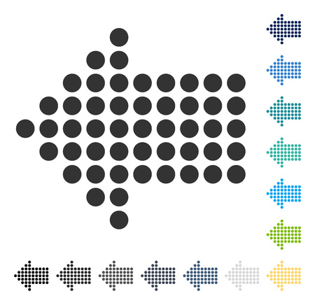 Dotted Arrow Left icon. Vector illustration style is flat iconic symbol in some color versions.