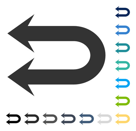 Double Left Arrow icon. Vector illustration style is flat iconic symbol in some color versions.