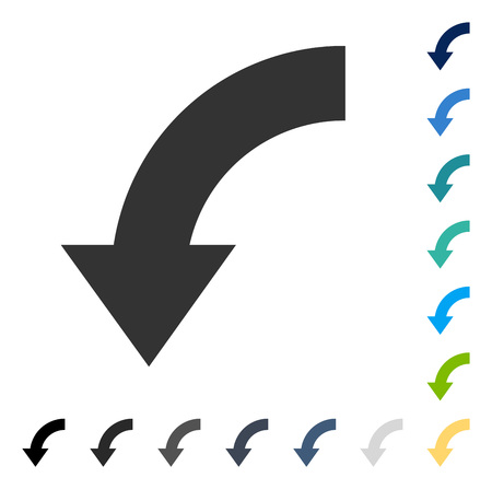moving down: Rotate Down icon. Vector illustration style is flat iconic symbol in some color versions.