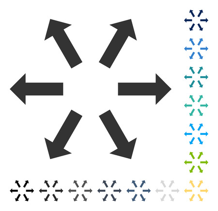 Radial Arrows icon. Vector illustration style is flat iconic symbol in some color versions. Illustration