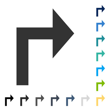 Turn Right icon. Vector illustration style is flat iconic symbol in some color versions.