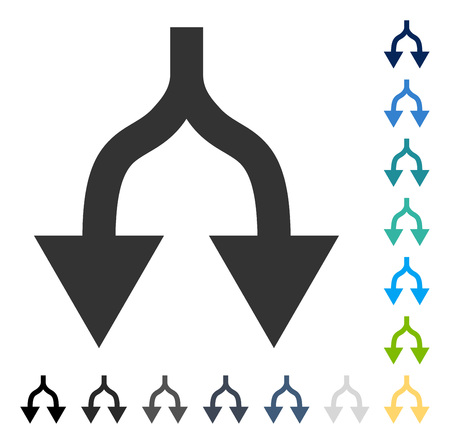 Split Arrows Down icon. Vector illustration style is flat iconic symbol in some color versions. Illustration