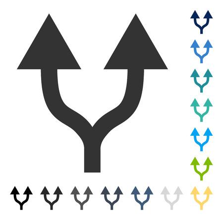 Icona frecce spaccate in alto. Lo stile dell'illustrazione di vettore è simbolo iconico piano in alcune versioni di colore.