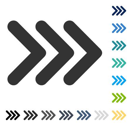 Triple Pfeilspitze rechts-Symbol. Vektor-Illustration-Stil ist flach ikonischen Symbol in einigen Farbversionen. Vektorgrafik