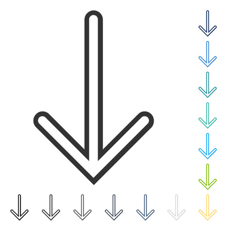 Arrow Down icon. Vector illustration style is flat iconic symbol in some color versions.