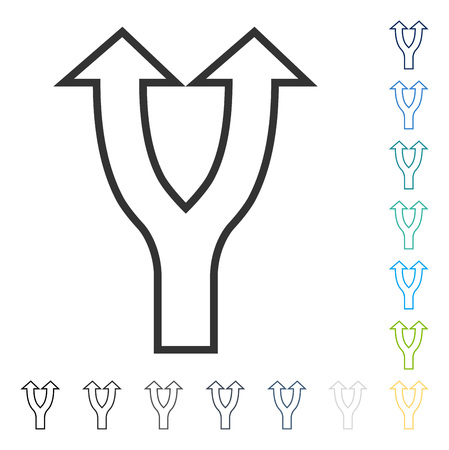 Bifurcation Arrow Up icon. Vector illustration style is flat iconic symbol in some color versions.