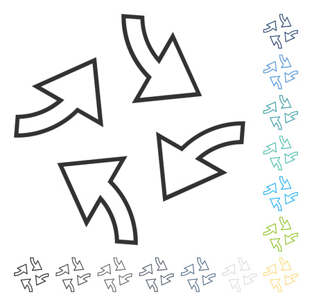 Centrifugal Arrows icon. Vector illustration style is flat iconic symbol in some color versions.