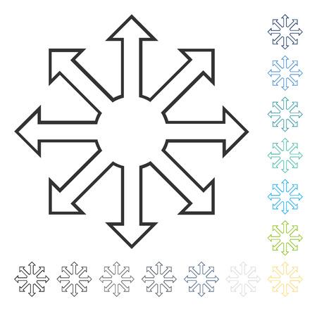 Agrandir l'icône de flèches. Style d'illustration vectorielle est le symbole emblématique plat dans certaines versions de couleur. Vecteurs