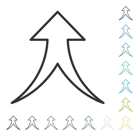 Pijl omhoog samenvoegen. Vector illustratiestijl is vlak iconair symbool in sommige kleurenversies. Stock Illustratie