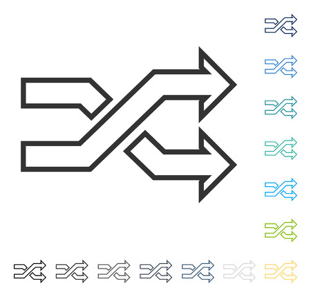 Mix Arrows Horizontal icon. Vector illustration style is flat iconic symbol in some color versions.