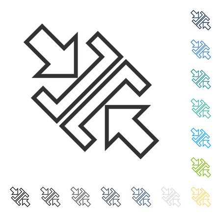 圧力斜め矢印アイコン。ベクトル図のスタイルは、いくつかの色のバージョンでフラットに象徴的なシンボルです。  イラスト・ベクター素材