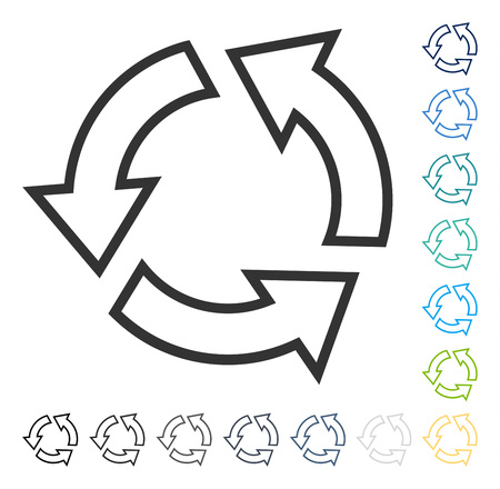 Recycle icon. Vector illustration style is flat iconic symbol in some color versions. Çizim