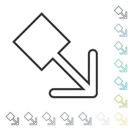 Pull Right Down icon. Vector illustration style is flat iconic symbol in some color versions.