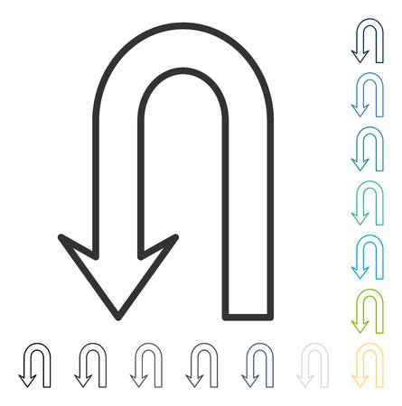 矢印アイコンを返します。ベクトル図のスタイルは、いくつかの色のバージョンでフラットに象徴的なシンボルです。