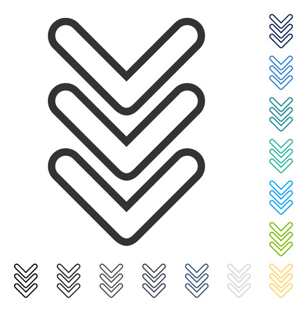 Triple Pointer Down icon. Vector illustration style is flat iconic symbol in some color versions. Illustration