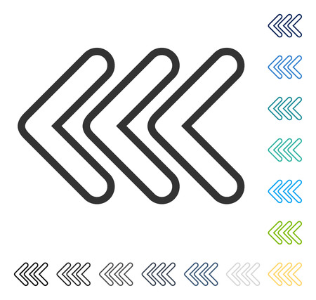 Triple Pointer Left icon. Vector illustration style is flat iconic symbol in some color versions.