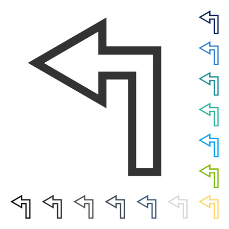 Turn Left icon. Vector illustration style is flat iconic symbol in some color versions.