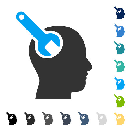 Brain Tool icon. Vector illustration style is flat iconic symbol in some color versions. Illustration