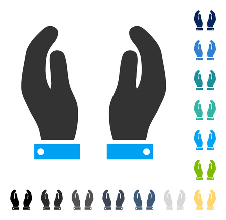 Care Hands icon. Vector illustration style is flat iconic symbol in some color versions.