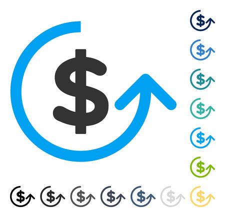 チャージ バック アイコン。ベクトル図のスタイルは、いくつかの色のバージョンでフラットに象徴的なシンボルです。  イラスト・ベクター素材